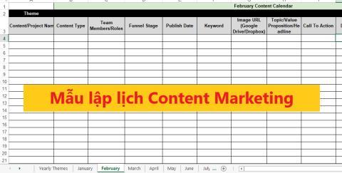 Content Calandar: Mẫu lập Lịch Content Marketing thực sự hoạt động