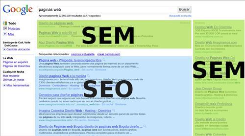 SEM SEO trong kết quả tìm kiếm của google