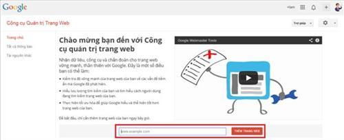 Man hình bắt đầu Google webmaster tools