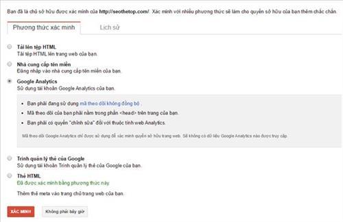 Xác minh GWT qua Google Analytics
