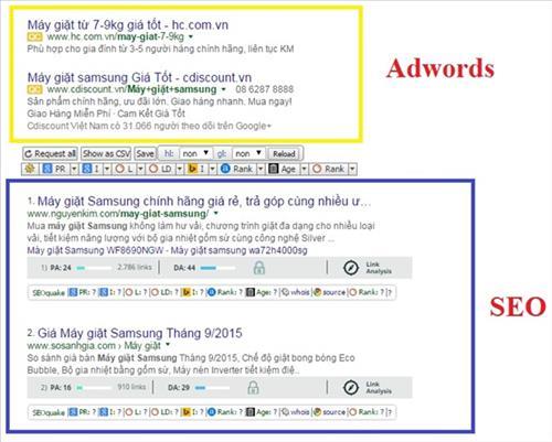 Kết quả hiển thị Adword và SEO trong SEM
