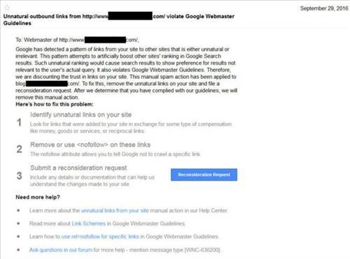 Thông báo của Google Webmaster khi đi link không tự nhiên ra ngoài