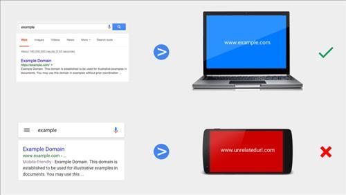 Ví dụ minh họa Google phạt web di động chuyển hướng lén lút