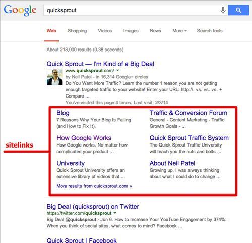 Sitelink thể hiện trong kết quả tìm kiếm