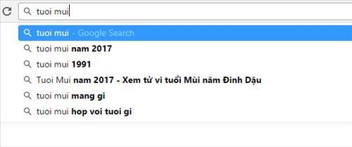 Gợi ý từ khóa từ Google search
