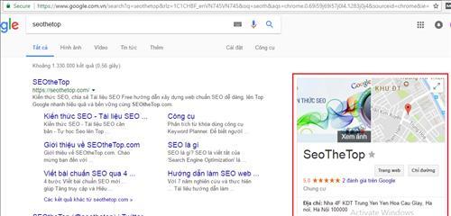 Kết quả local search trong Google tìm kiếm
