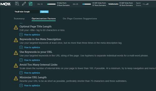 On-page checklist Audit của Mozbar