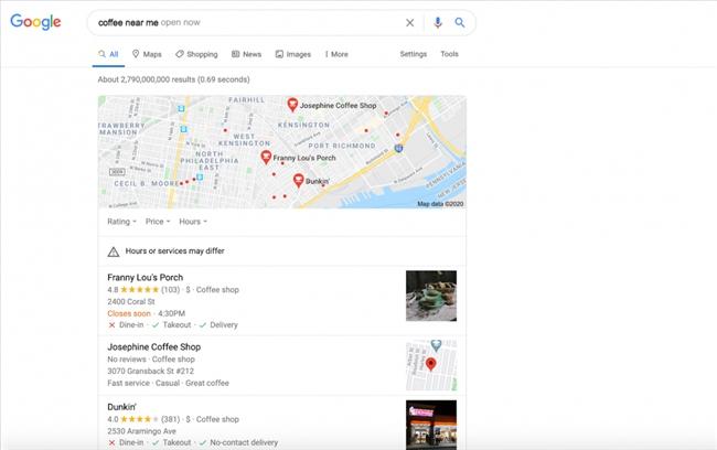 Kết quả tìm kiếm của Google Local Pack