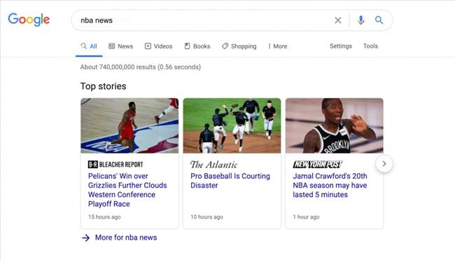 Tính năng SERP của Câu chuyện hàng đầu trên Google ở đầu SERP